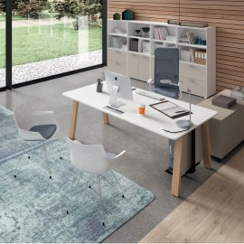 Bureau individuel Design Take Off Country de BRALCO en coloris blanc.
