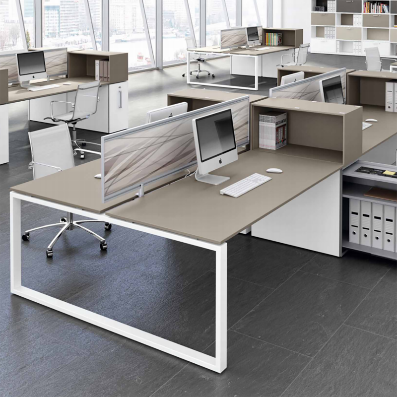Bureau Double Design Loopy de BRALCO en coloris beige.