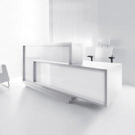 Banque d'accueil Design Foro de MDD coloris blanc.