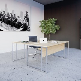 Bureau individuel design Stricto Sensu de Buronomic en finition en imitation chêne clair