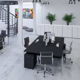 Bureau Double design Stricto Sensu de Buronomic en finition noir