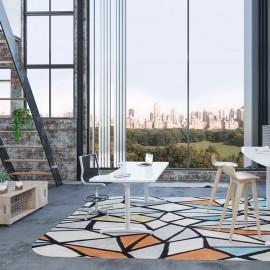 Le bureau électrique Design Envol de Buronomic avec plan design double vague et finition blanc
