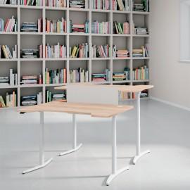 Le bureau électrique Design Envol de Buronomic avec plan design double vague et finition chêne