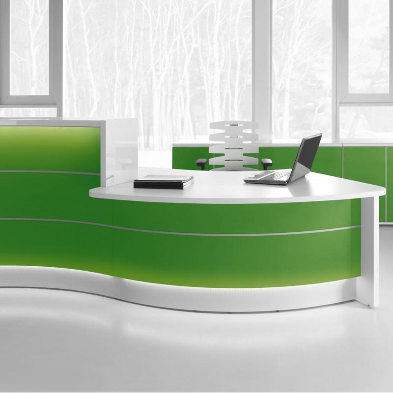 Banque d'accueil Design Valde de Mdd en coloris vert brillant