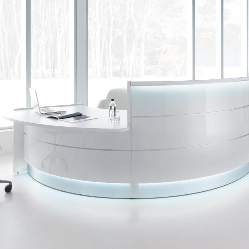 Banque d'accueil Design Valde de Mdd en coloris blanc brillant