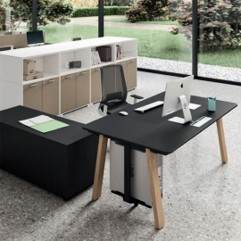 Bureau individuel Design Take Off Country de BRALCO en coloris noir.