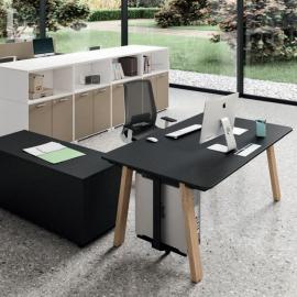 Bureau individuel Design Take Off Country de BRALCO en coloris noir.
