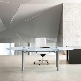 Bureau de Direction Design Mèta Life de FANTONI en verre transparent.