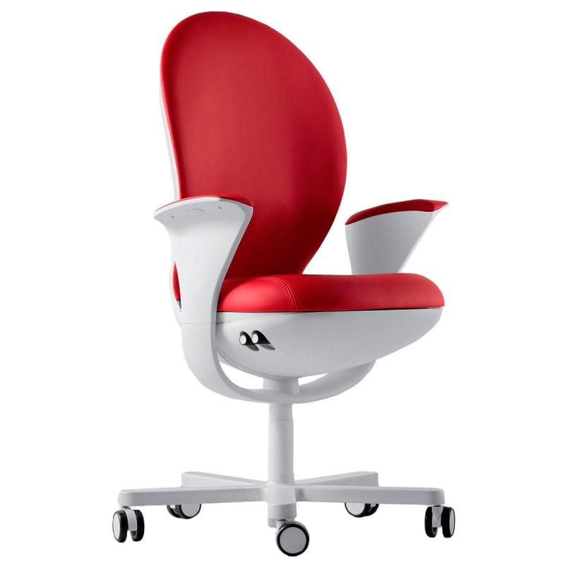 Fauteuil de bureau Design et Ergonomique Bea de Luxy en coloris rouge.