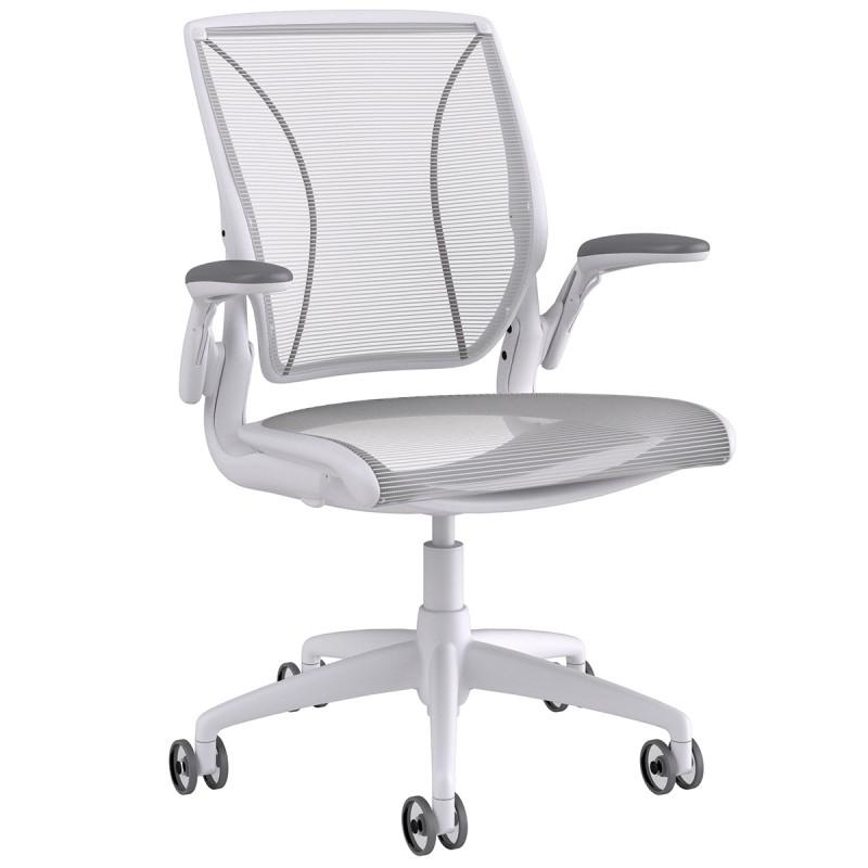 Fauteuil de bureau Design et Ergonomique Diffrient World en coloris blanc.