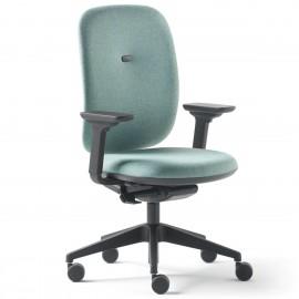 Fauteuil de bureau Ergonomique et Design Alaia en coloris bleu, coque blanche.