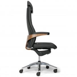 Fauteuil de direction Design et Ergonomique Toro en cuir noir.